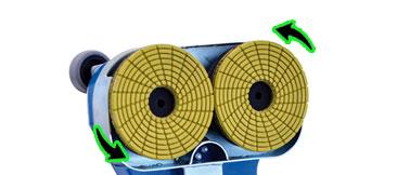 Systême de rotation des outils sur la bordureuse de sol