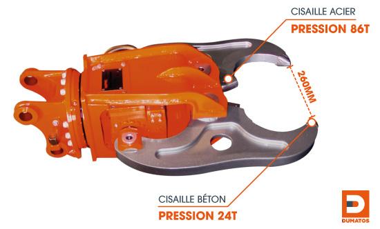 Location de cisaille béton hydraulique pour mini pelle