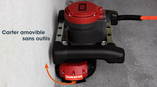 Vue sur le carter de protection amovible de la surfaceuse beton brushless 125mm