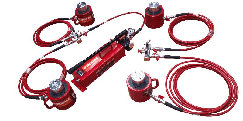 Installation typique: 4 vérins - 2 distributeurs et 1 pompe manuelle
